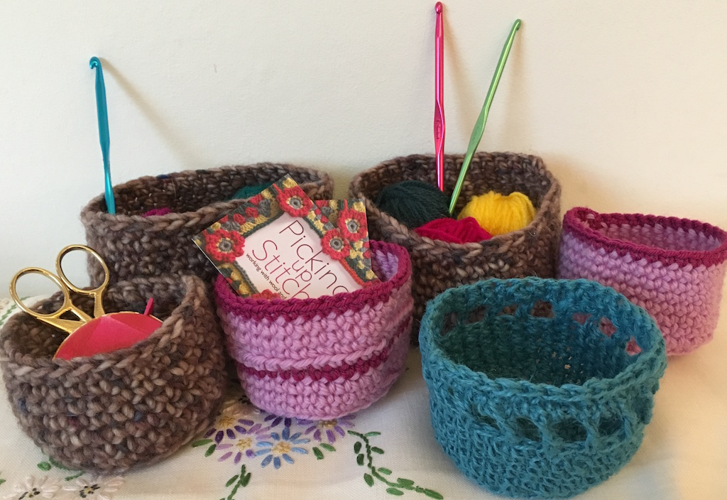 A selection of crocheted baskets