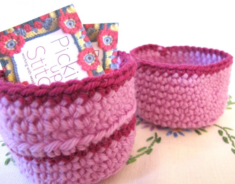 Two little crochet baskets