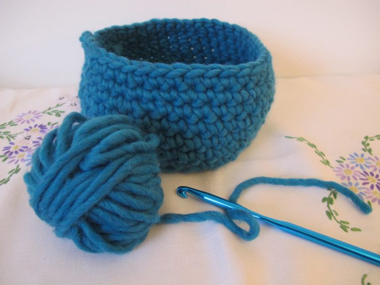 Large teal crocheted basket