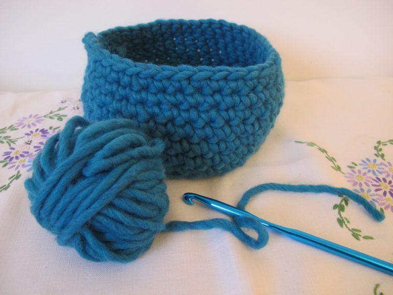 Large teal crocheted basket