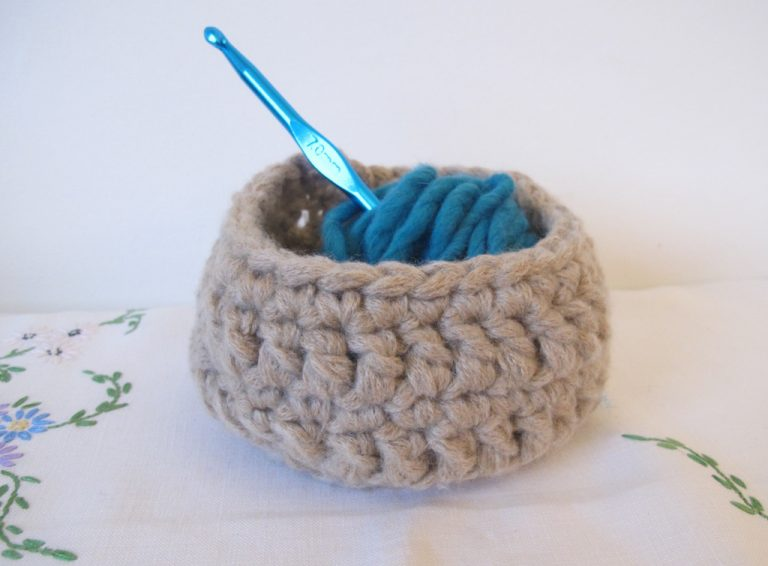 Fawn crocheted basket with treble detail