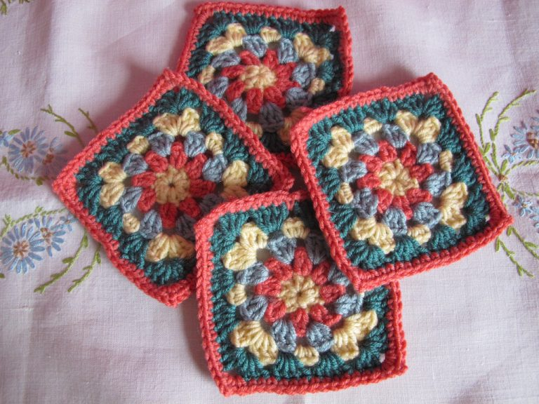 Coral floral square colourway