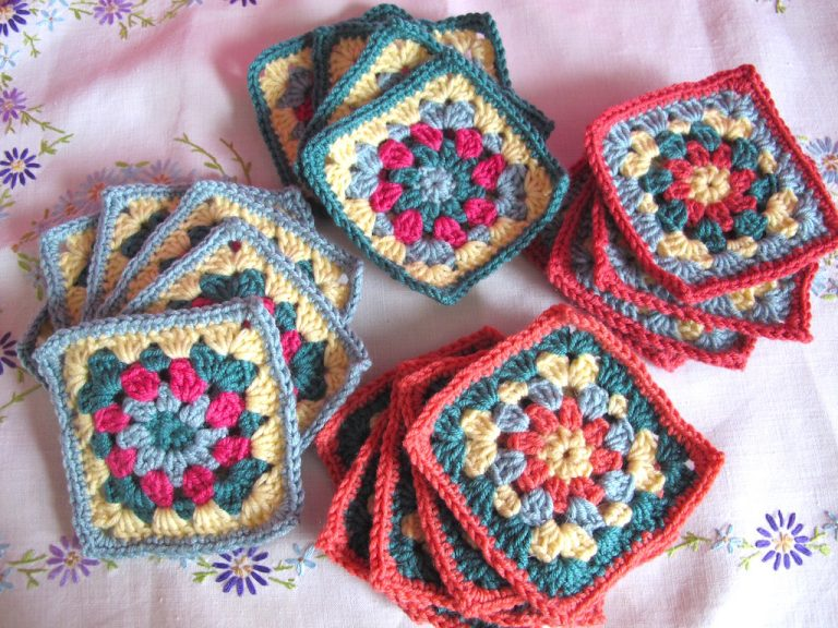 Piles of floral squares