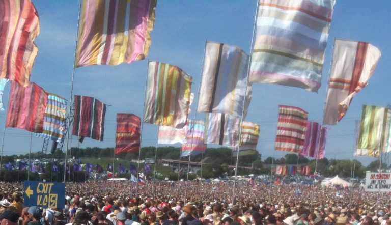 Flags at the main stage a Glastonbury
