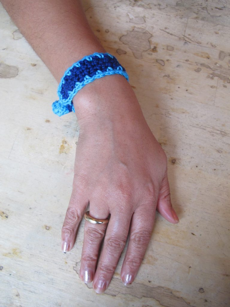 Blue crochet wristband