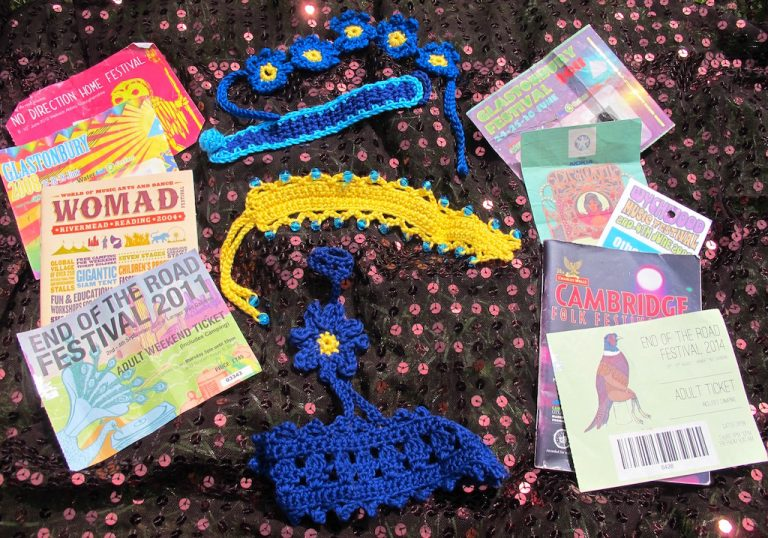 Crochet wristbands and old festival tickets