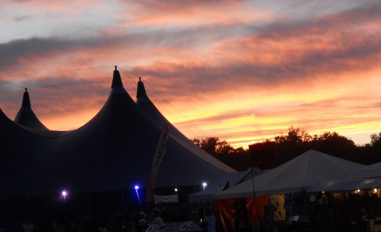 Sunset over tents at End of The Road Festival