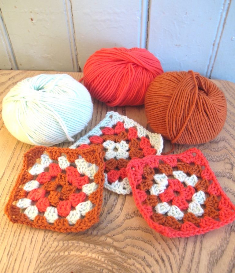 shades of wool and granny squares
