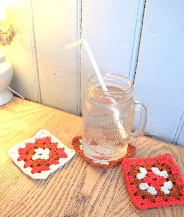 soda in a jar and granny squares