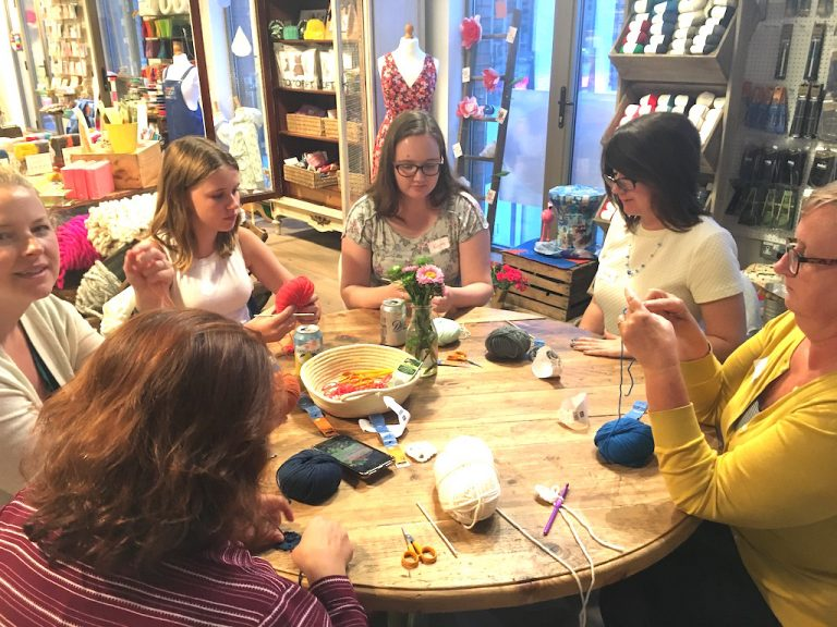 Crochet class in progress at The Village Haberdashery