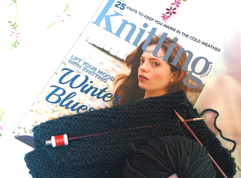 Sample of knitting from a pattern in Khitting Magazine