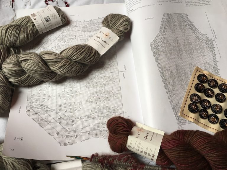 skeins of wool for leaf cardigan with pattern charts