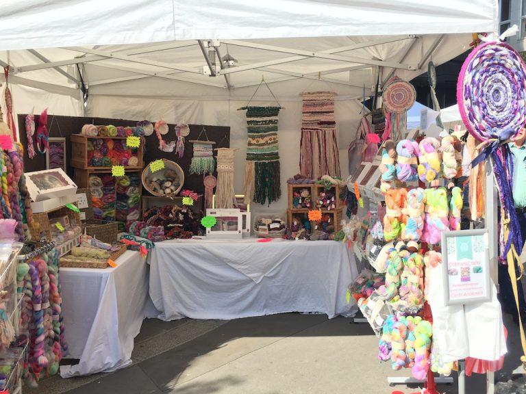 Colourful wool stall at the Wool Fair at Monument in London