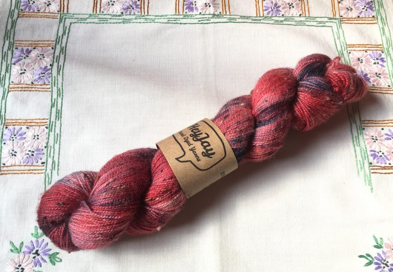 Hank of pink tweed wool from HeyJay