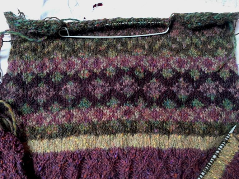 Close up of fairisle work at top of back of Ness jumper