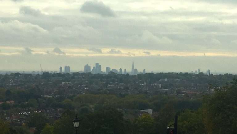 The view of the city of London from Ally Pally