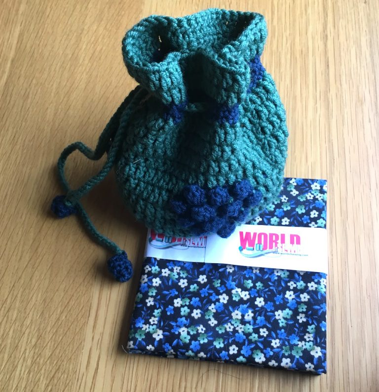 Crochet blackberry bag and fabric for lining