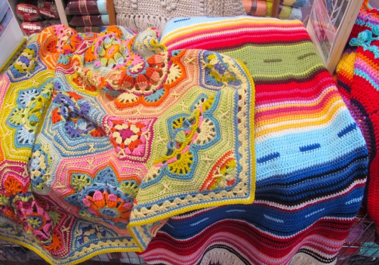 Colourful blankets in crochet