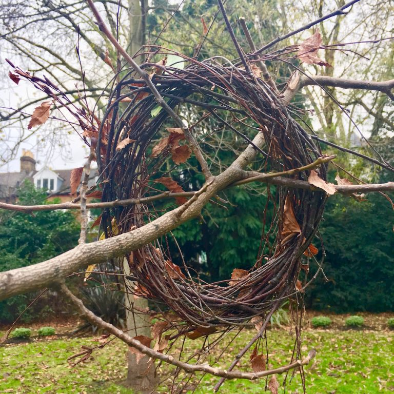 Twig wreath in park