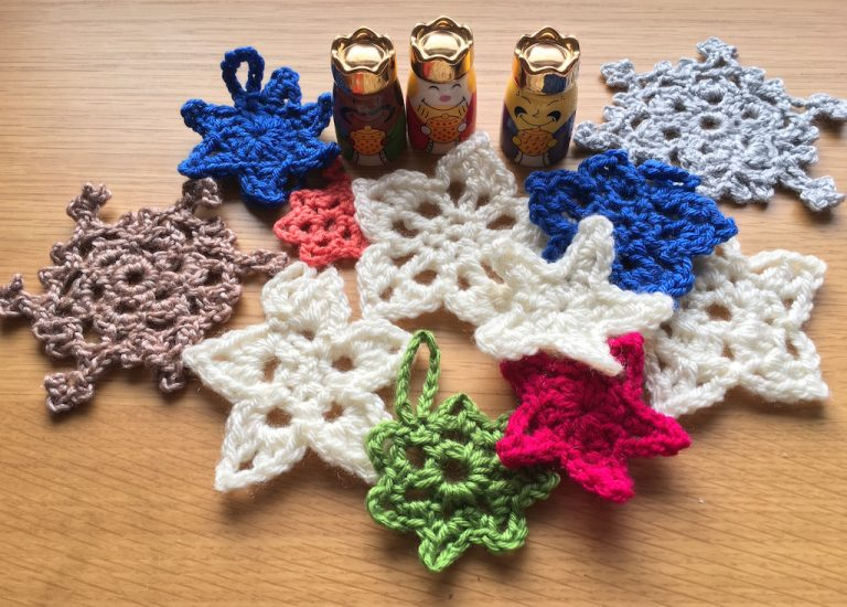 Christmas crochet stars and snowflakes
