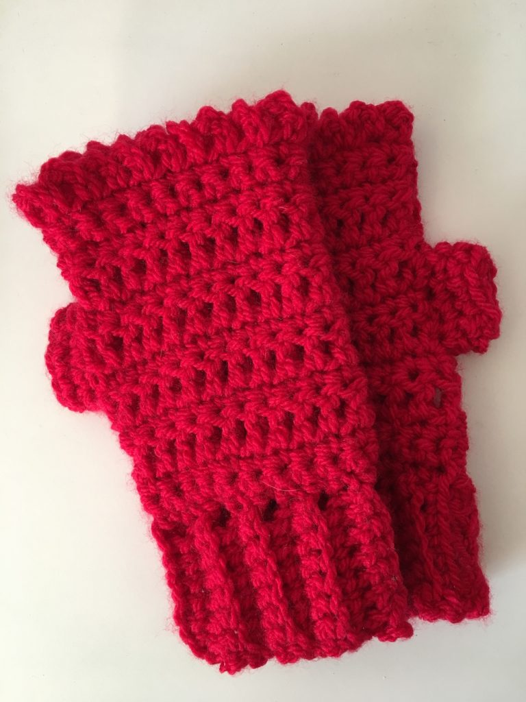 Red crochet fingerless gloves