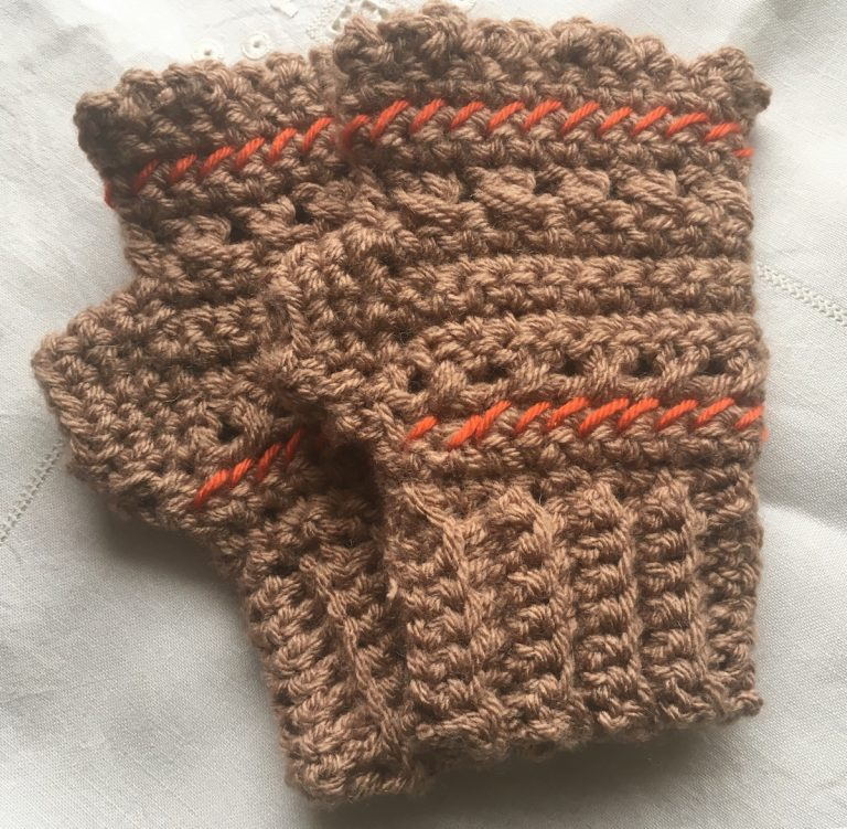 chunky crocheted mittens