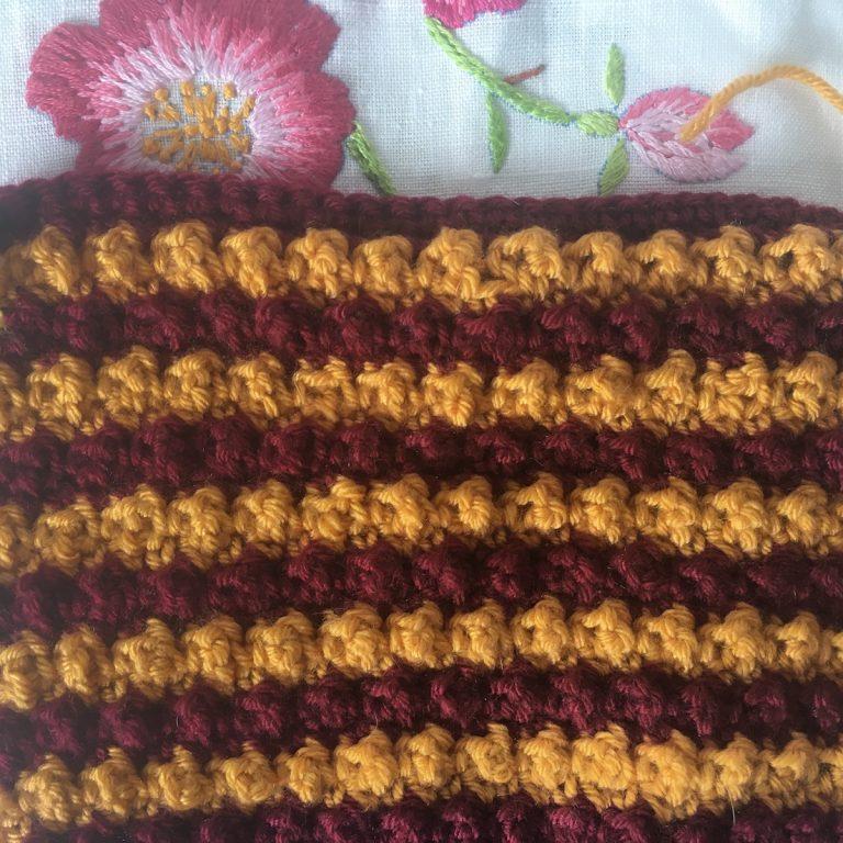 stripy crochet bobble mittens in progress