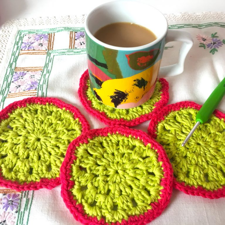bright crocheted coasters