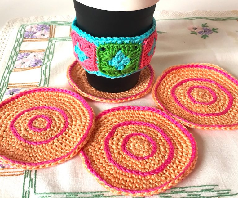salmon and pink coasters