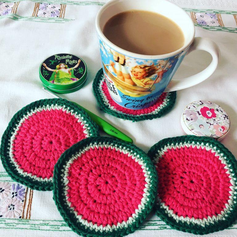 watermelon crochet coasters