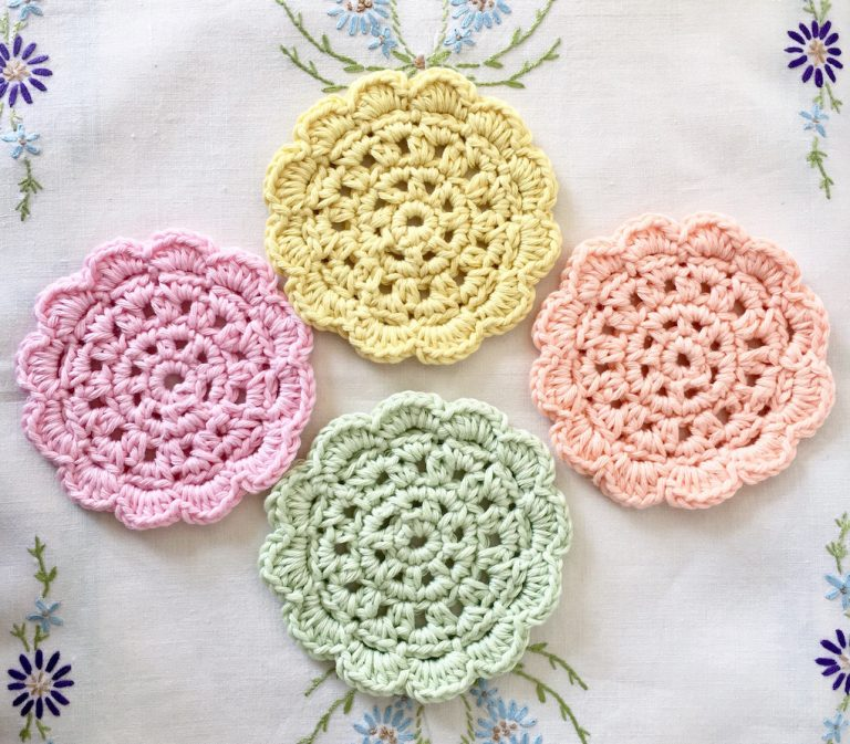 paster retro crocheted coasters