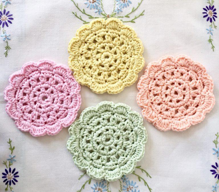 paster retro crocheted coasters