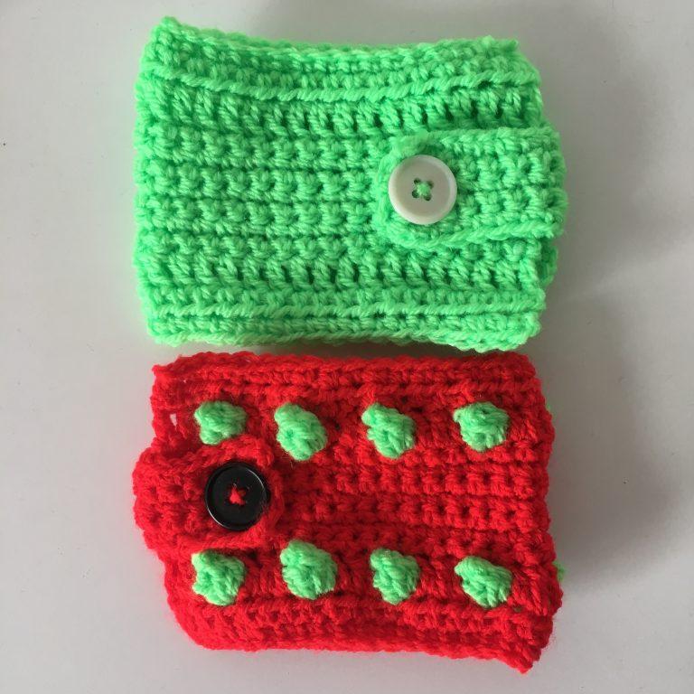 simplified mug warmer and spotty crocheted mug warmer
