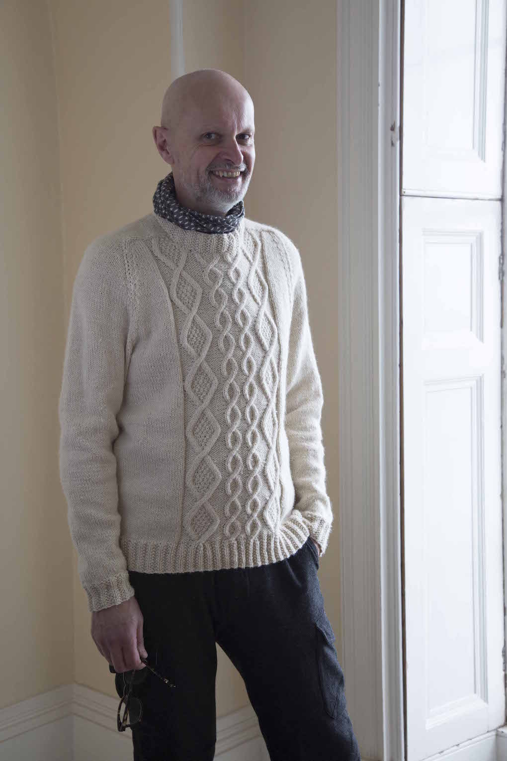 Martin Storey in white cable jumper