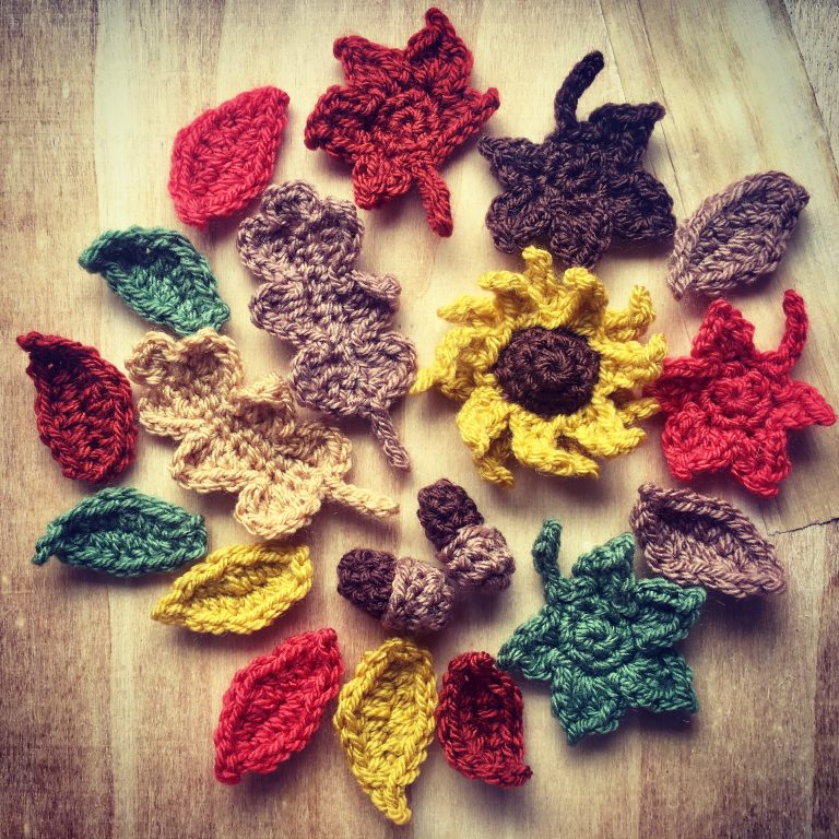 Crocheted autumn leaves acorns and flowers