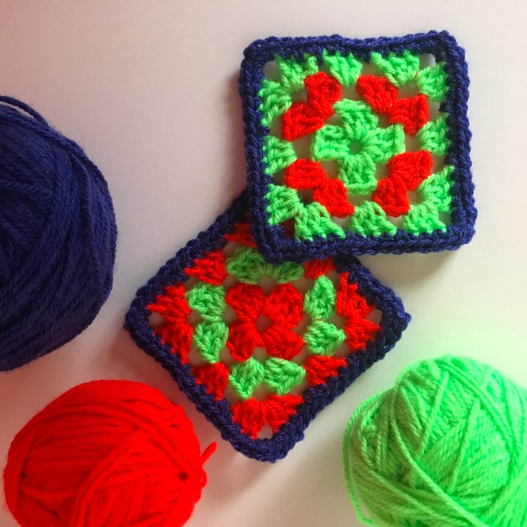 Bright coloured granny squares