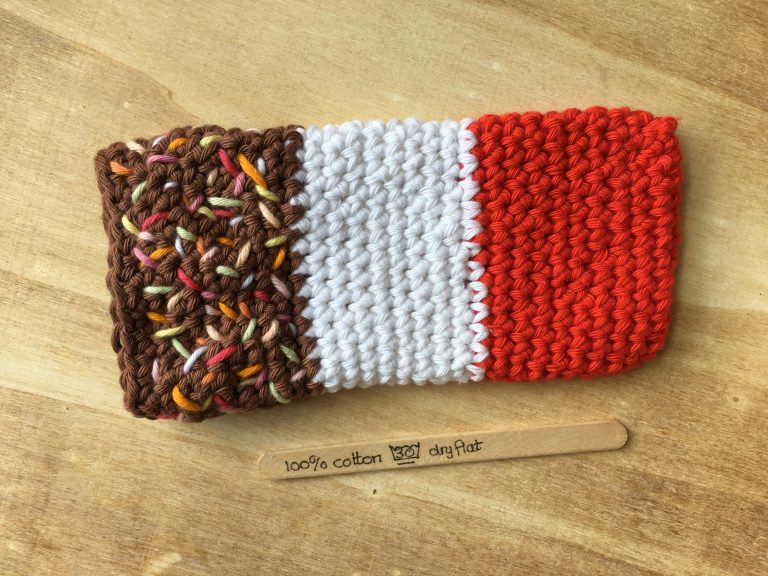 Crocheted FAB lolly mobile cover