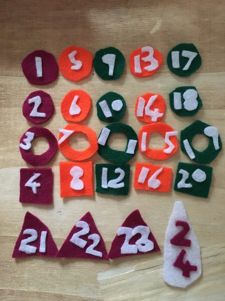 Felt shapes for back of advent calendar