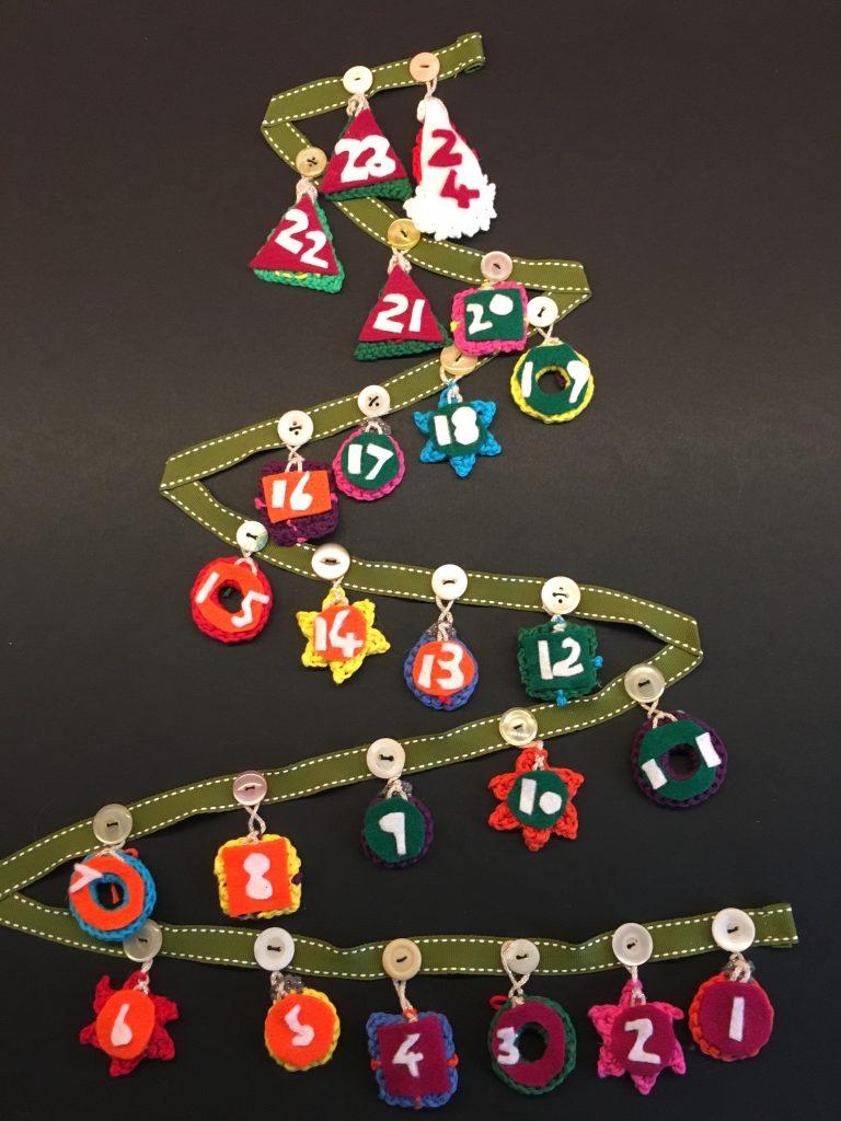 Crocheted advent Christmas tree