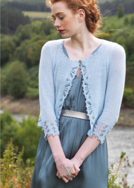 Blue cardigan from Yarntelier by Louisa Harding