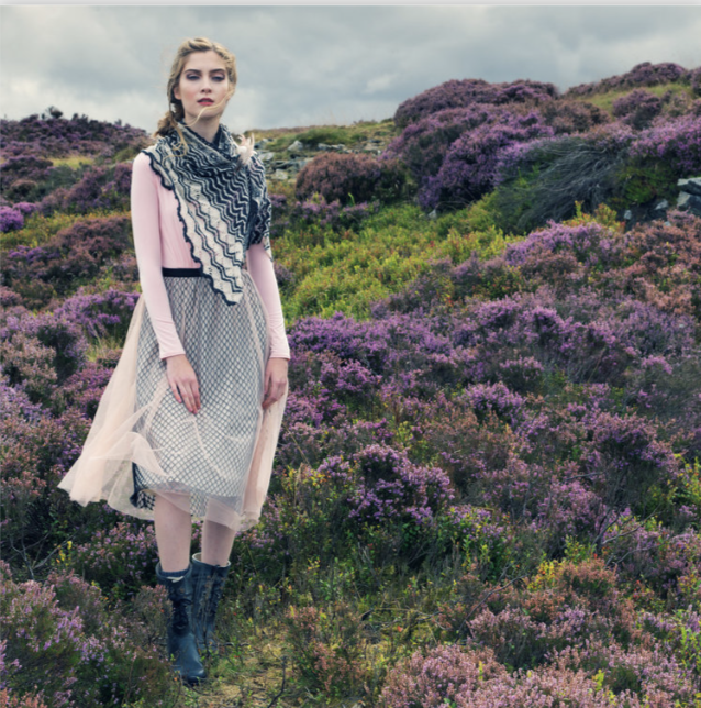 Yarntelier Roshni shawl by Louisa Harding photographed among moorland heather