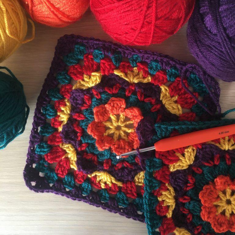Granny square bag both main pieces